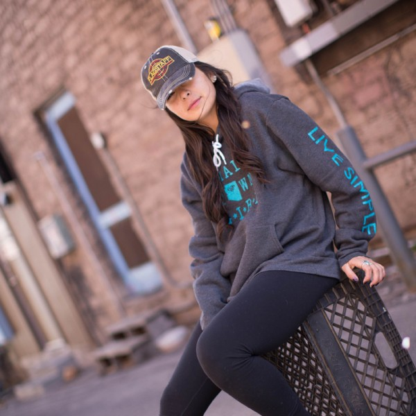 Small Town Girl Hoodie | Grey + Mint