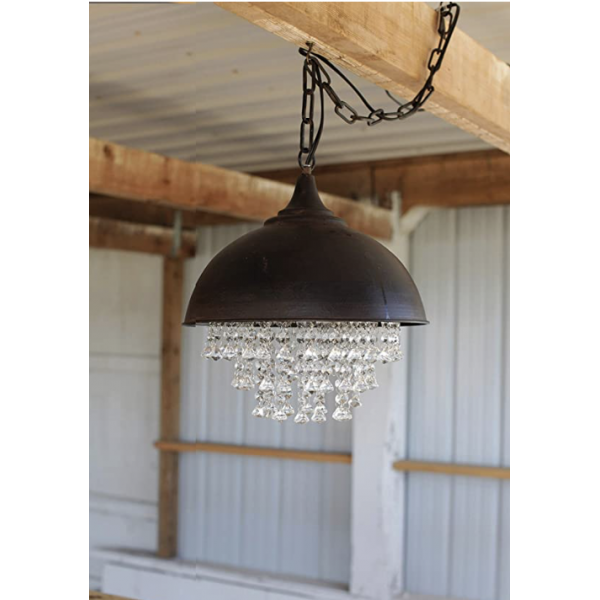 Metal dome chandelier with crystals