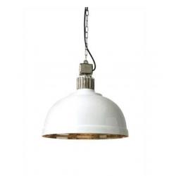 Nickel + White Large Dome Pendant Light