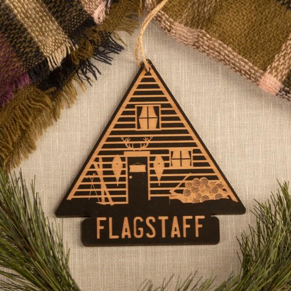 Wood Cabin Ornament W/ Flagstaff Engraved